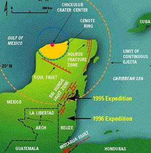 [Chicxulub Crater. Image credit: ??? From http://giovanni-doomsday.blogspot.com/2009/04/chicxulub-crater.html]