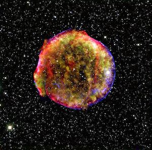 [This composite image of the Tycho Type 1a supernova remnant combines infrared and X-ray observations obtained with NASA's Spitzer and Chandra space observatories, respectively, and the Calar Alto observatory, Spain. Image credit: NASA/MPIA/Calar Alto Observatory, Oliver Krause et al. From http://www.spitzer.caltech.edu/images/2060-sig08-016-Vivid-View-of-Tycho-s-Supernova-Remnant]