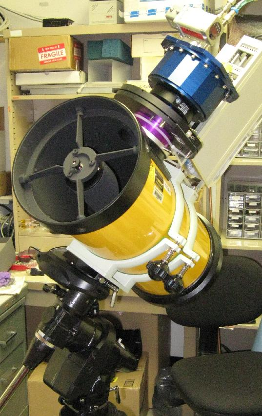 [A prototype camera (16 Mpixel) mounted on an 18cm Takahashi astrograph. Image credit: John Tonry, University of Hawaii Institute for Astronomy.]